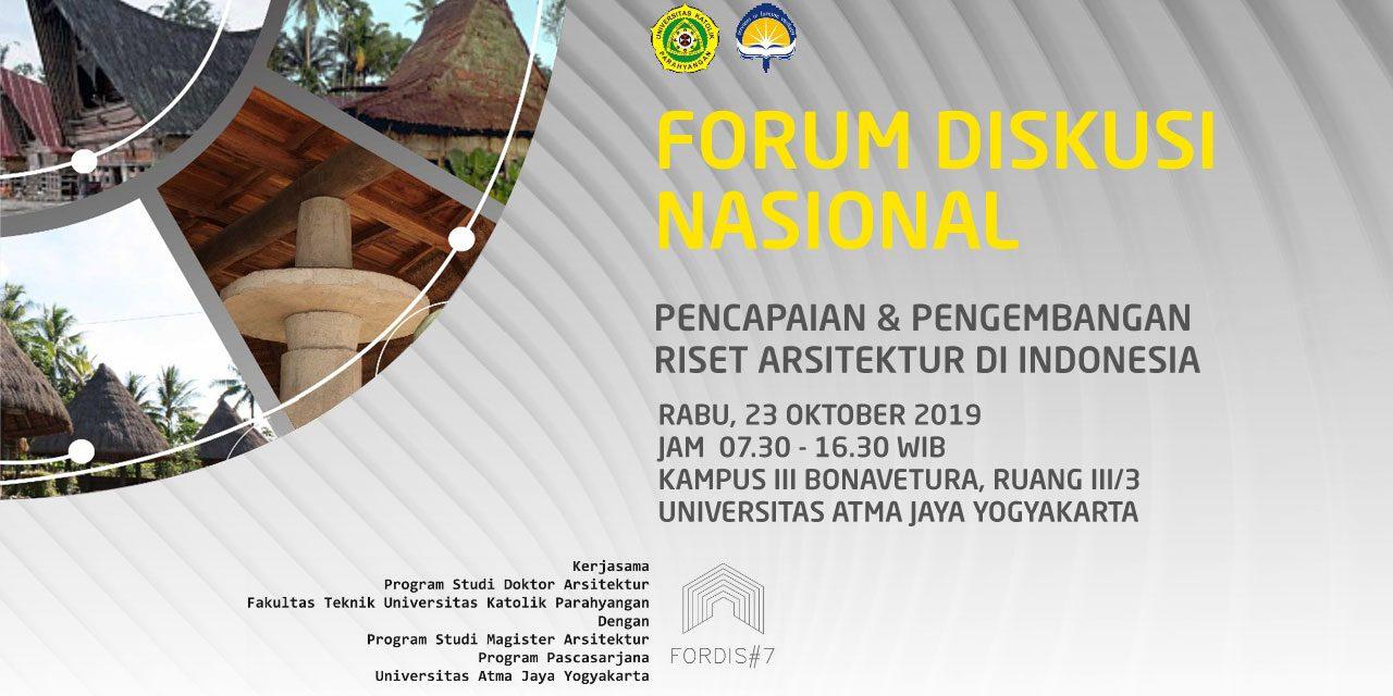 Forum Diskusi Nasional Pencapaian & Pengembangan Riset Arsitektur di Indonesia